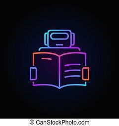 schets, kleurrijke, symbool, -, robot, vector, boek, pictogram