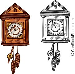 schets, klok, muur, classieke, vector, jaar, nieuw