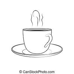 schets, kop, -, koffie, illustratie, vector