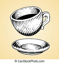 schets, kop, koffie, inkt, witte , vullen