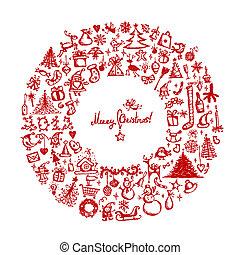 schets, krans, kerstmis, ontwerp, tekening, jouw