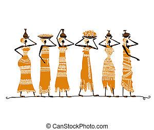 schets, kruiken, ontwerp, ethnische , jouw, vrouwen