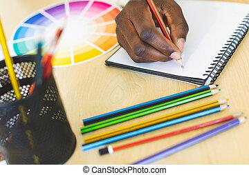 schets, kunst, aantekenboekje, bureau, grafisch, tekening, ontwerper