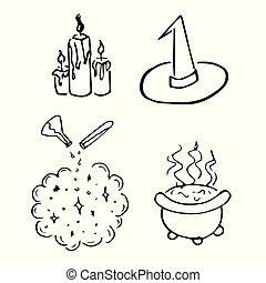 schets, magisch, hekserij, ouderwetse , halloween, retro, doodle