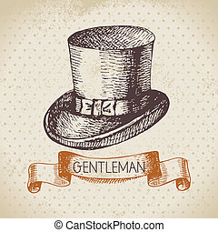 schets, mannen, illustratie, hand, heren, accessory., ...