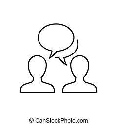 schets, mensen, achtergrond, witte , het spreken, pictogram