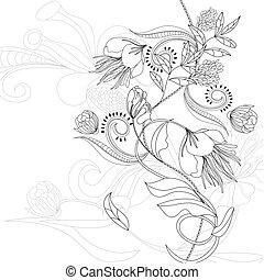 schets, met, bloemen