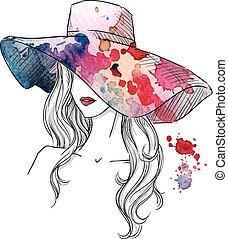 schets, mode, meisje, hat.