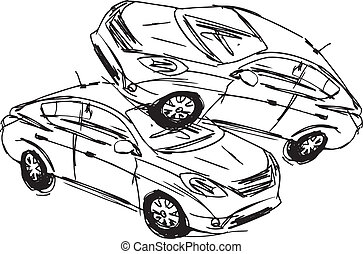 schets, ongeluk, auto's, vrijstaand, illustratie, twee, achtergrond., vector, witte
