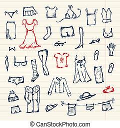 schets, ontwerp, jouw, verzameling, kleren