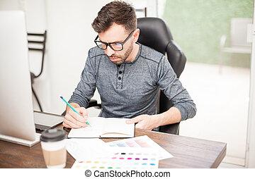 schets, ontwerper, tekening, kantoor