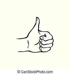 schets, op, het tonen, vrijstaand, hand, achtergrond., stijl, duimen, menselijk, witte , gebaar