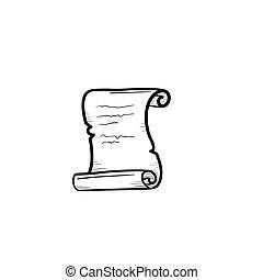 schets, oud, hand, papier, getrokken, icon., boekrol