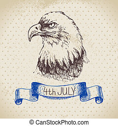 schets, ouderwetse , hand, achtergrond., 4, ontwerp, getrokken, juli, amerika, dag, onafhankelijkheid