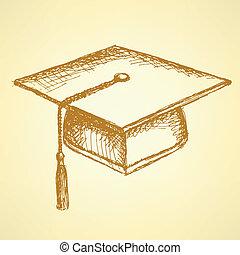 schets, pet, afgestudeerd