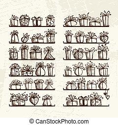 schets, planken, cadeau, tekening, dozen, ontwerp, jouw