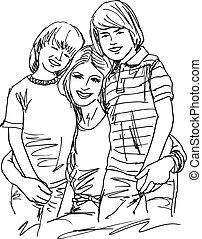 schets, relaxing., illustratie, vector, moeder, kinderen