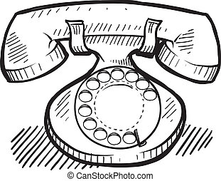 schets, retro, telefoon