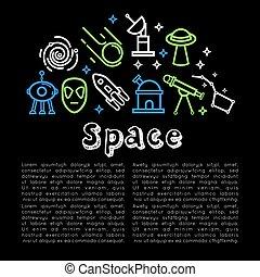 schets, ruimte, kosmisch, vector, raketten, satellieten