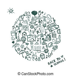 schets, school, frame, back, ontwerp, jouw
