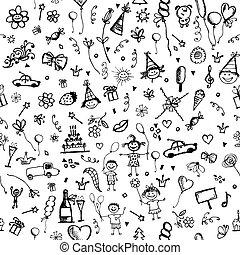 schets, seamless, ontwerp, achtergrond, vakantie, jouw