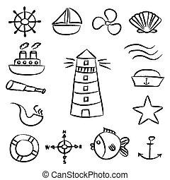 schets, set, eps10, iconen, doodle, vector, nautisch