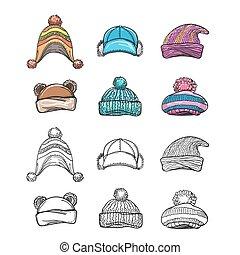 schets, set, hoedje, winter, kleurrijke