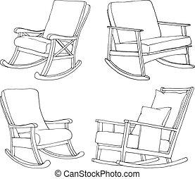 schets, set, illustration., stoelen, vrijstaand, comfortabel, achtergrond., vector, chair., wiegen, witte