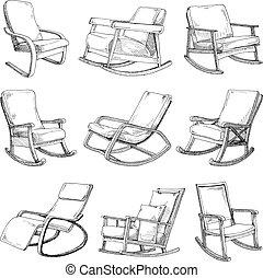 schets, set, stoelen, vrijstaand, comfortabel, achtergrond., chair., wiegen, witte