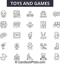 schets, set, tekens & borden, iconen, illustration:, spelen, vector., speelgoed, lijn, speelbal, concept