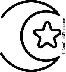 schets, stijl, ster, maan, pictogram, islamitisch
