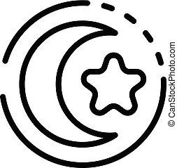 schets, stijl, ster, maan, pictogram, turkse