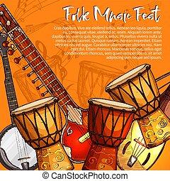 schets, straatfeest, poster, muziek, muzikalisch, folk-music
