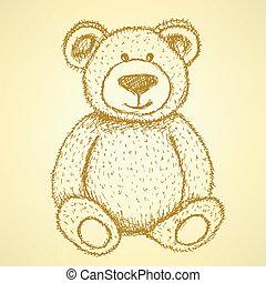 schets, teddy, ouderwetse , vector, achtergrond, beer