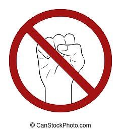 schets, tekening, prohibition., violence., verbod, fist, menselijk, element, war., vector, stopteken