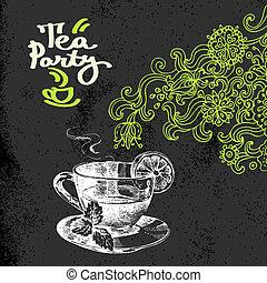 schets, thee, illustratie, hand, achtergrond., vector, ouderwetse , getrokken