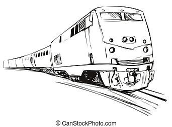schets, trein, stijl