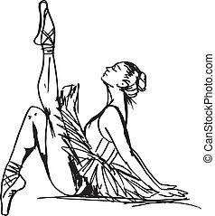 schets, van, ballet, dancer., vector, illustratie