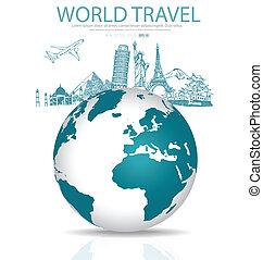 schets, van, beroemd, monument, en, moderne, globe., vector,...