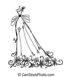 schets, van, bruidsjurk, met, floral, ornament, voor, jouw,...