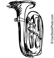 schets, van, de, koper, buis, muzikaal instrument