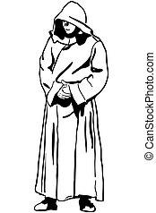 schets, van, een, man, in, monk's, kap