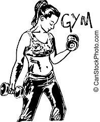 schets, van, een, vrouw trainen, op, de, gym, met, dumbbell,...