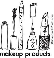 schets, van, makeup, products., vector, illustratie
