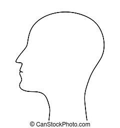 schets, van, menselijk hoofd