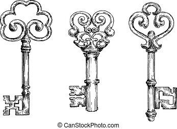 schets, van, ouderwetse , sleutels, met, krullend, communie