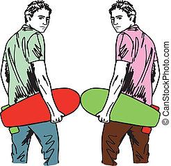 schets, van, skateboard, boy., vector, illustratie