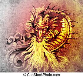 schets, van, tatoeëren, kunst, fantasie, middeleeuws, draak, met, witte , vuur