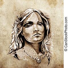 schets, van, tatoeëren, kunst, mooi en gracieus, en, innige, blik, van, een, tentje, van, amerikaan indiaas, meisje