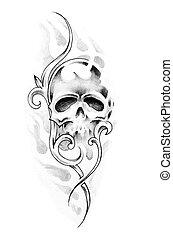 schets, van, tatoeëren, kunst, schedel
